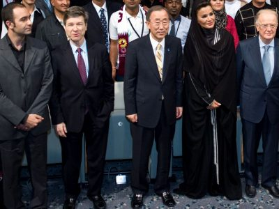 At the youth event of the United Nations Alliance of Civilizations Forum in Doha, Qatar on Saturday December 10th 2011 with UN Secretary-General Ban Ki-moon, Sheikha Mozah, and President SampaioCredit: UNAOC
